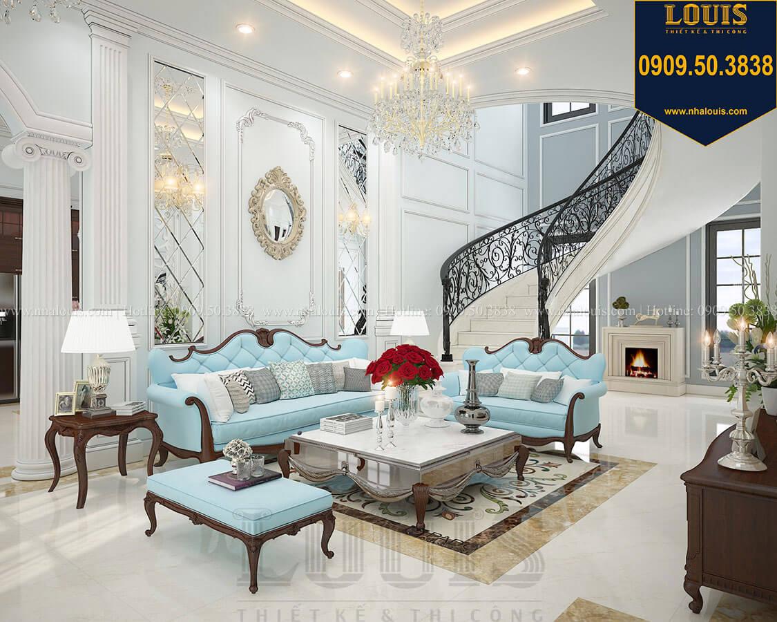 Phòng khách Biệt thự 3 tầng có tầng hầm với phong cách tân cổ điển tại Bình Dương - 10