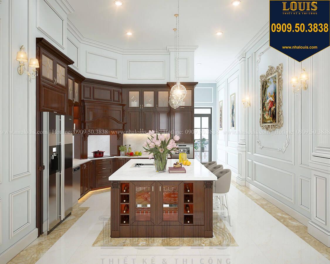 Phòng bếp Biệt thự 3 tầng có tầng hầm với phong cách tân cổ điển tại Bình Dương - 12