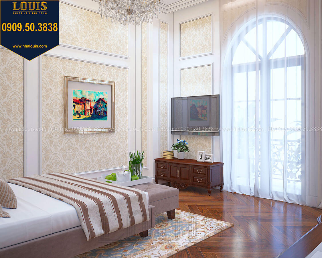 Phòng ngủ Biệt thự 3 tầng có tầng hầm với phong cách tân cổ điển tại Bình Dương - 36