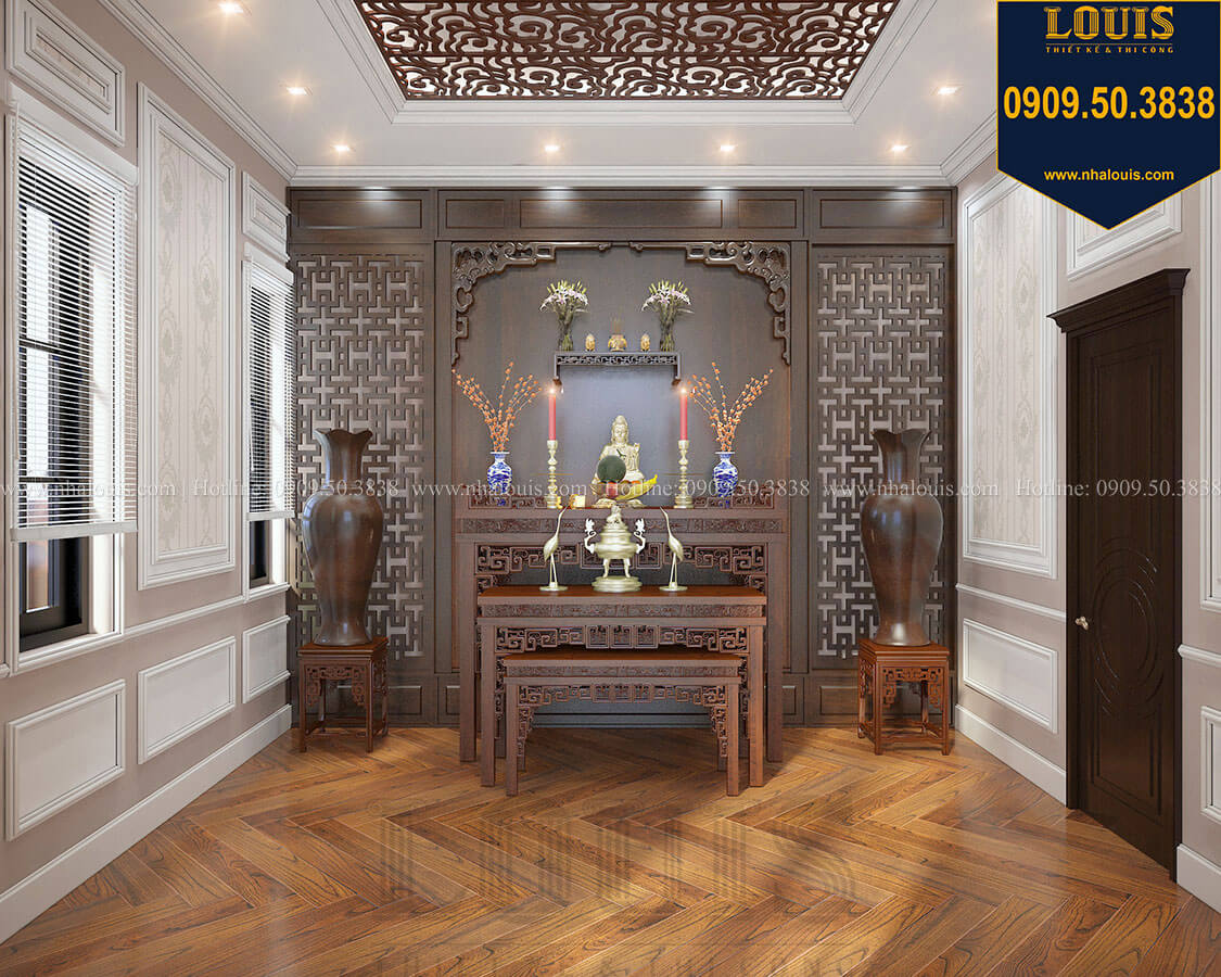 Biệt thự 3 tầng có tầng hầm với phong cách tân cổ điển tại Bình Dương