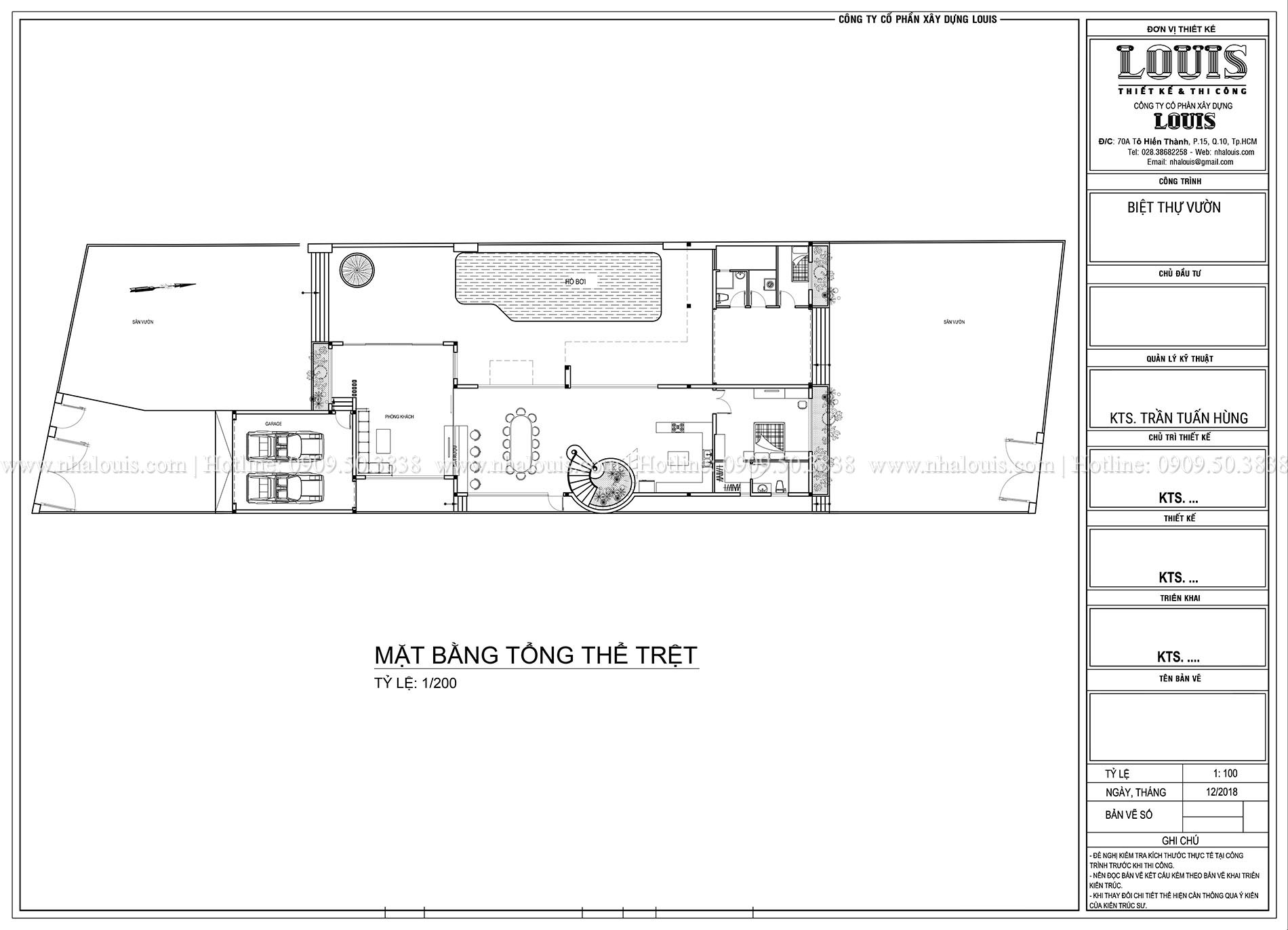 Mặt bằng tổng thể Mẫu biệt thự 3 tầng hiện đại với không gian mở ở quận 12 - 007
