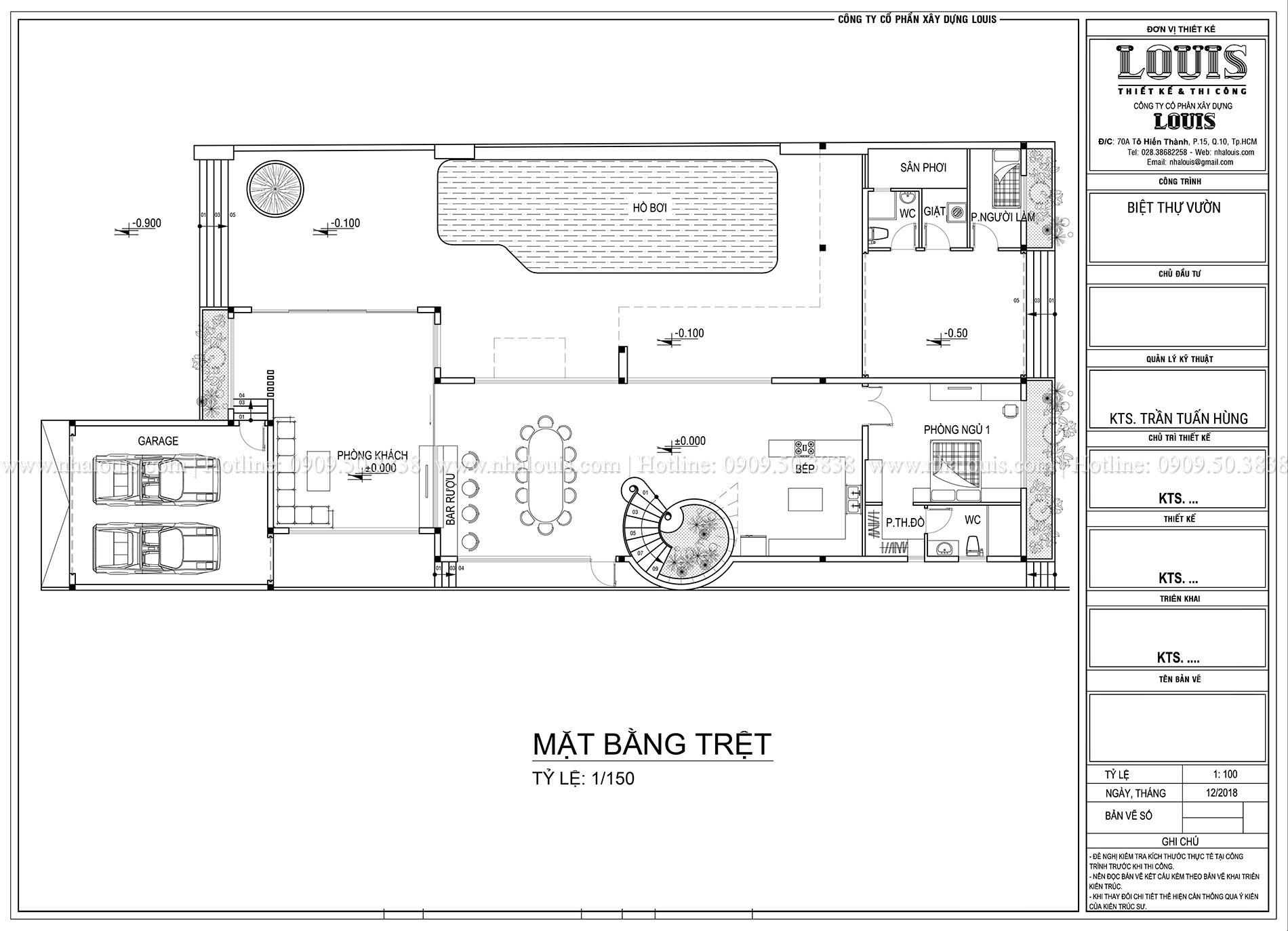 Mặt bằng trệt Mẫu biệt thự 3 tầng hiện đại với không gian mở ở quận 12 - 008