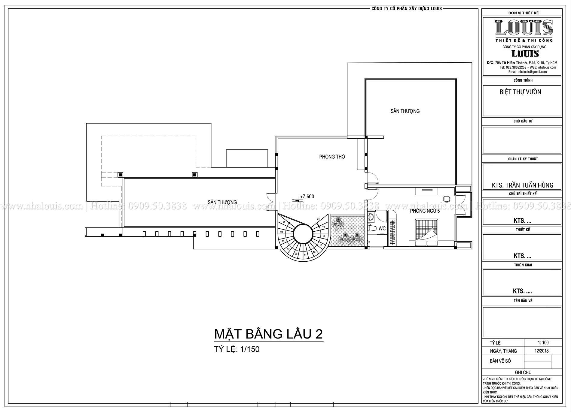 Mặt bằng lầu 2 Mẫu biệt thự 3 tầng hiện đại với không gian mở ở quận 12 - 057