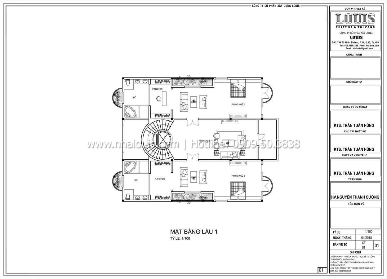 Mặt bằng tầng 1 Biệt thự 5 tầng tân cổ điển đậm chất quý tộc tại Khánh Hòa - 14