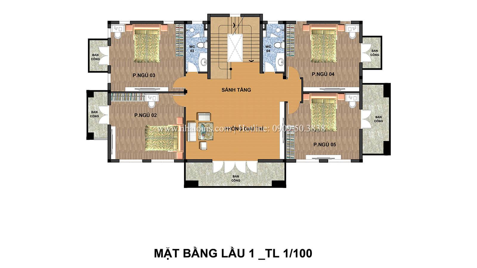 Mặt bằng tầng 1 Biệt thự 2 tầng cổ điển lộng lẫy và sang trọng tại Hóc Môn - 06