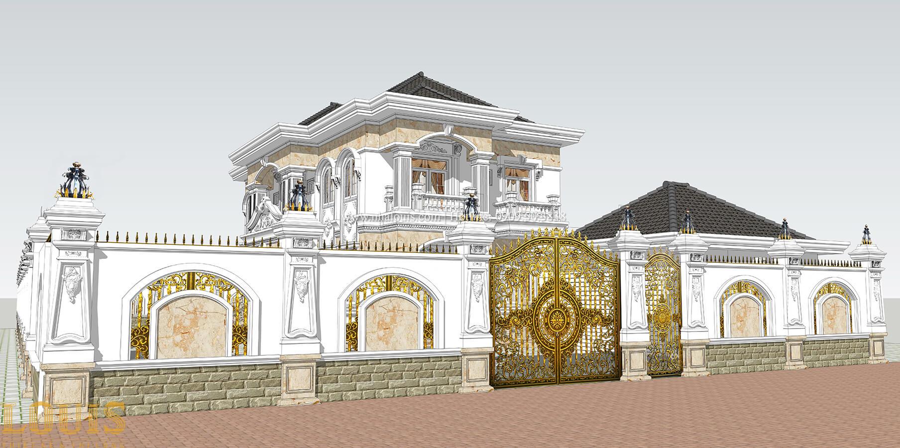 Thiết kế cổng ngoài Biệt thự 2 tầng cổ điển lộng lẫy và sang trọng tại Hóc Môn - 07