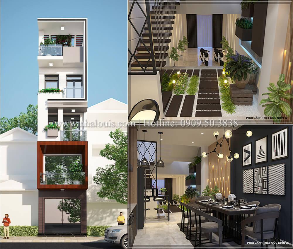 Nhà 5 tầng hiện đại tối ưu không gian sống tại Quận 1