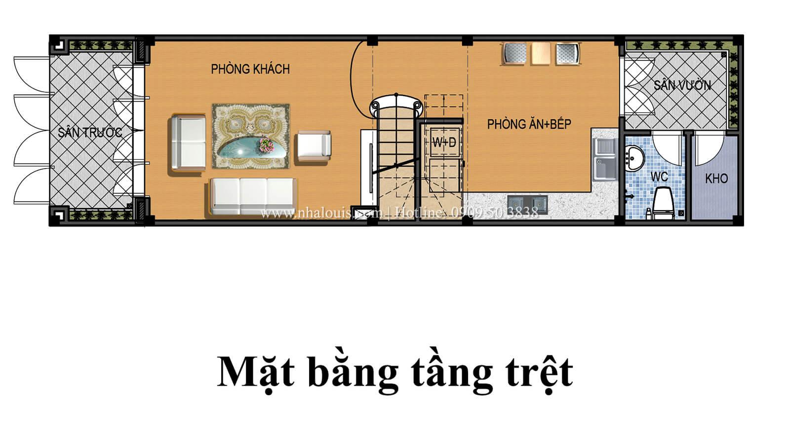 Mặt bằng tầng trệt Nhà 4x15 phong cách tân cổ điển đẹp sang chảnh tại Gò Vấp - 04