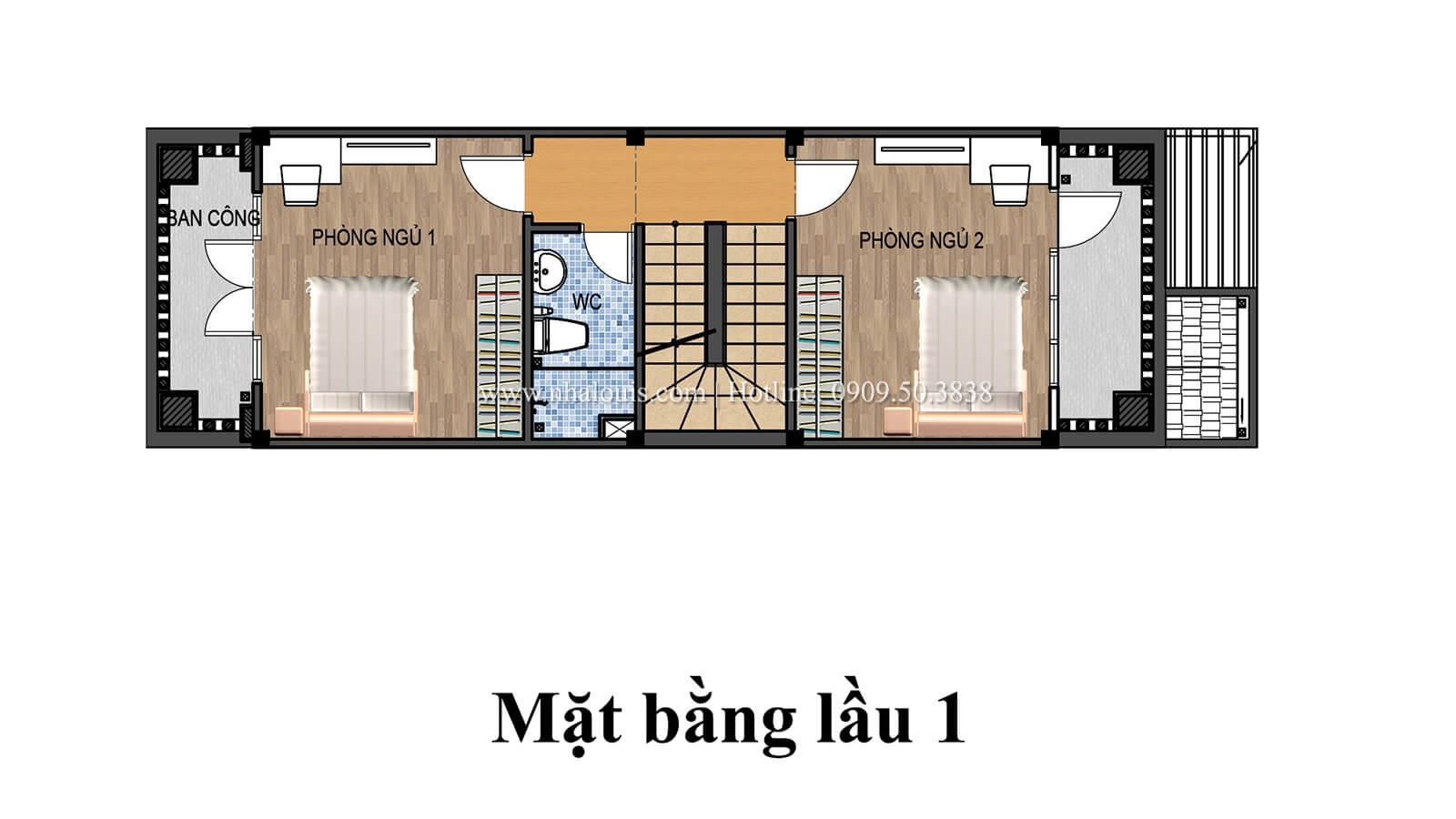 Mặt bằng tầng 1 Nhà 4x15 phong cách tân cổ điển đẹp sang chảnh tại Gò Vấp - 05