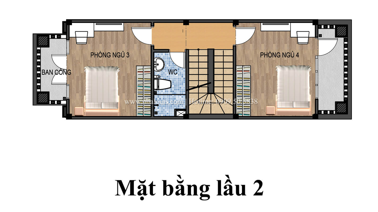 Mặt bằng tầng 2 Nhà 4x15 phong cách tân cổ điển đẹp sang chảnh tại Gò Vấp - 06