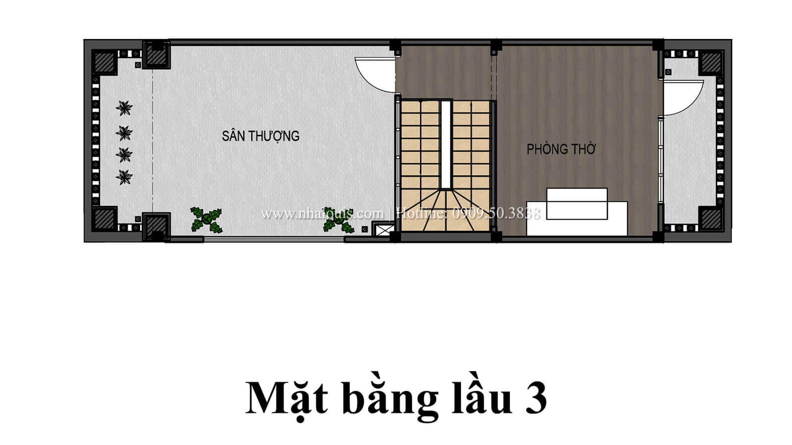 Mặt bằng tầng 3 Nhà 4x15 phong cách tân cổ điển đẹp sang chảnh tại Gò Vấp - 07