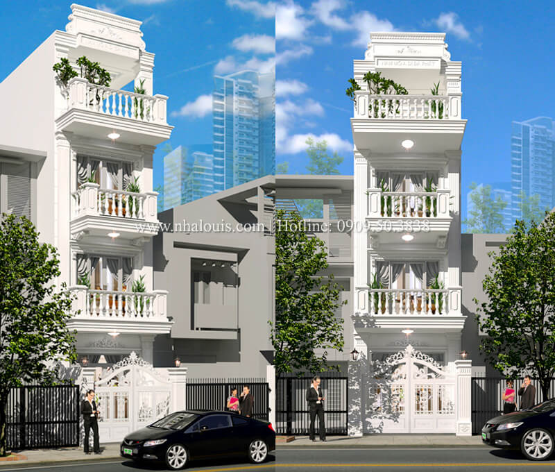 Nhà 4×15 phong cách tân cổ điển 4 tầng đẹp sang chảnh tại Gò Vấp