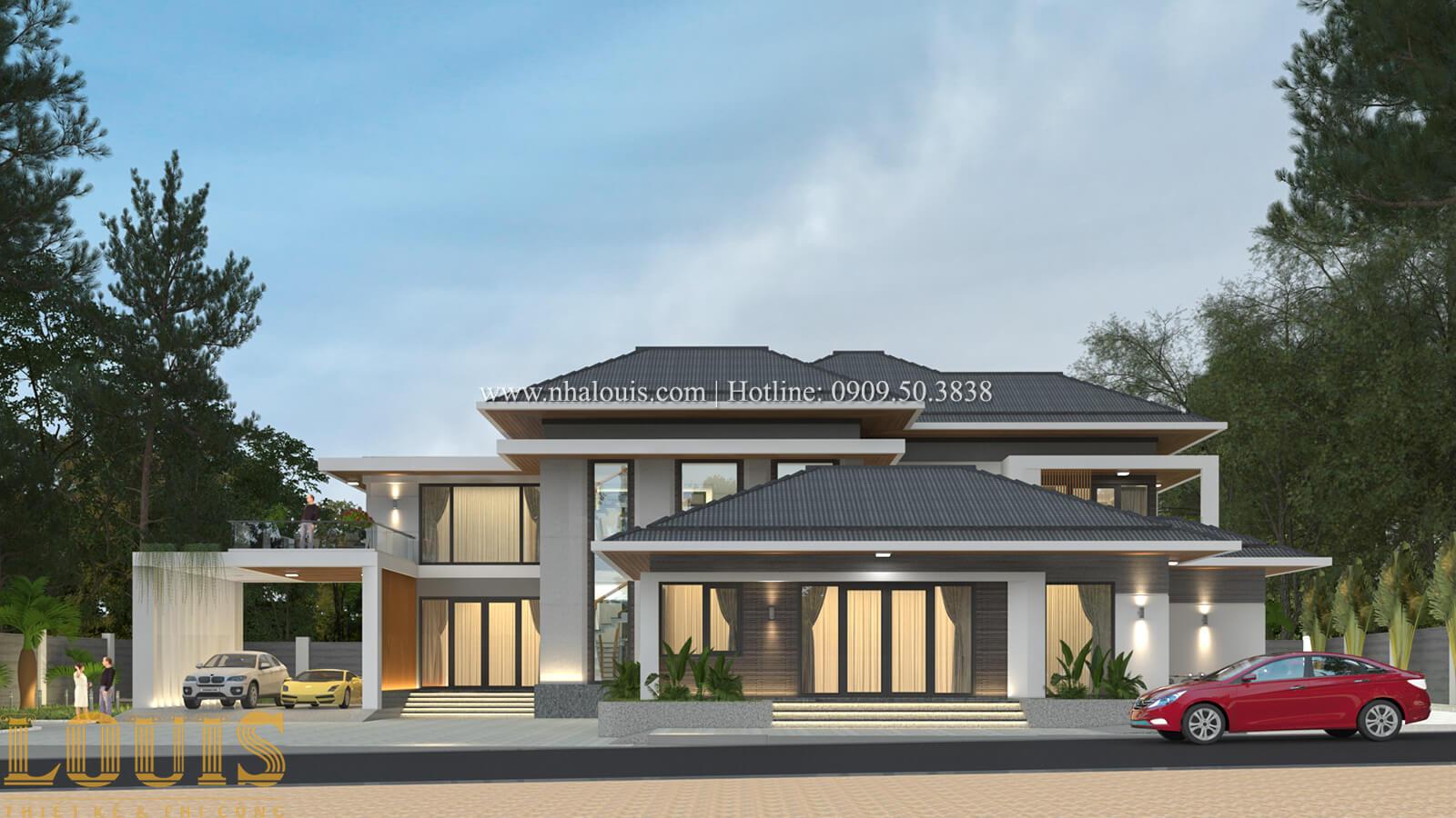 Mặt tiền thiết kế biệt thự nghỉ dưỡng tại Cà Mau