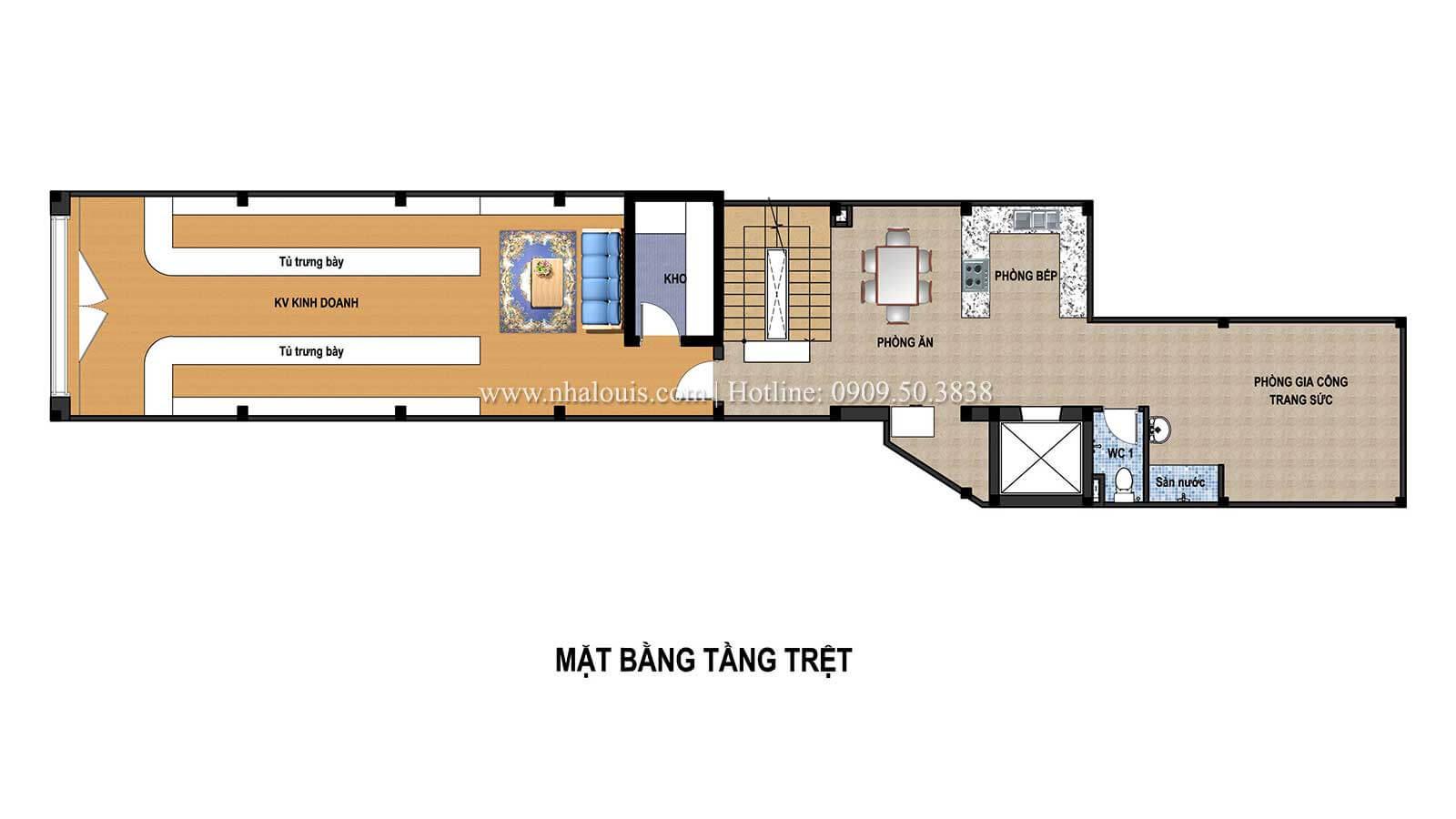 Mặt bằng tầng trệt Thiết kế tiệm vàng 5 tầng đẹp không tì vết tại Nhà Bè - 03