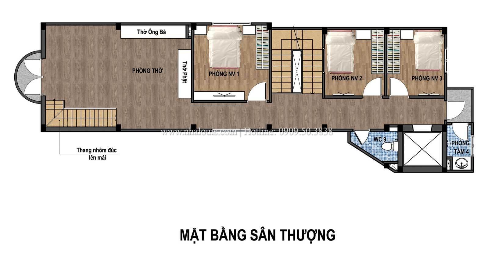 Mặt bằng sân thượng Thiết kế tiệm vàng 5 tầng đẹp không tì vết tại Nhà Bè - 07