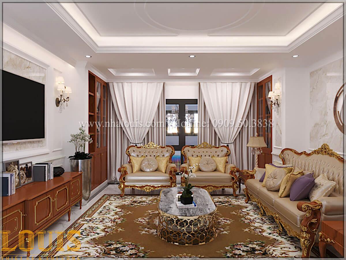 Phòng khách Thiết kế tiệm vàng 5 tầng tân cổ điển đẹp không tì vết tại Nhà Bè - 11