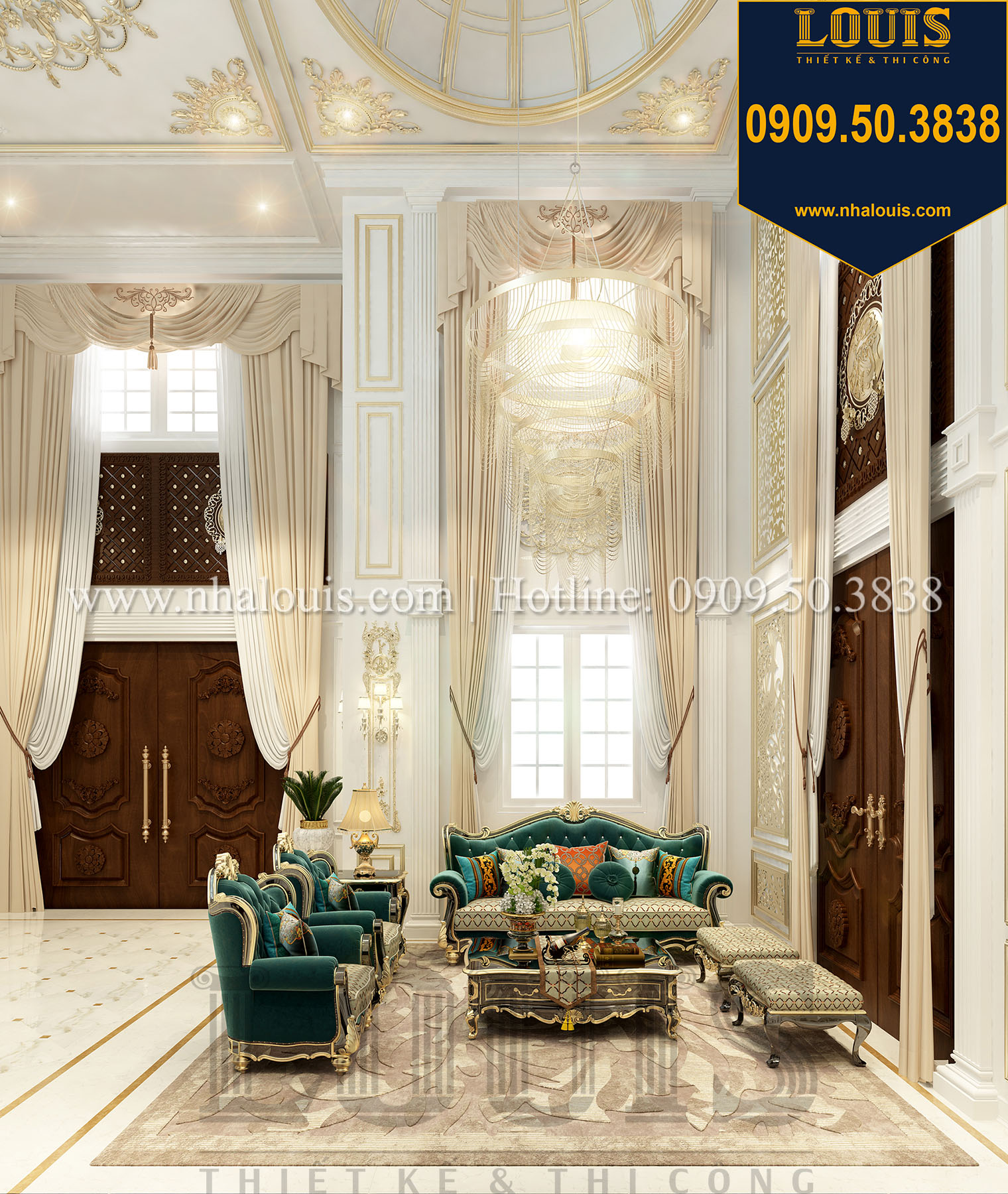 Phòng khách Biệt thự Châu Âu cổ điển chuẩn sang chảnh tại Nhà Bè - 012