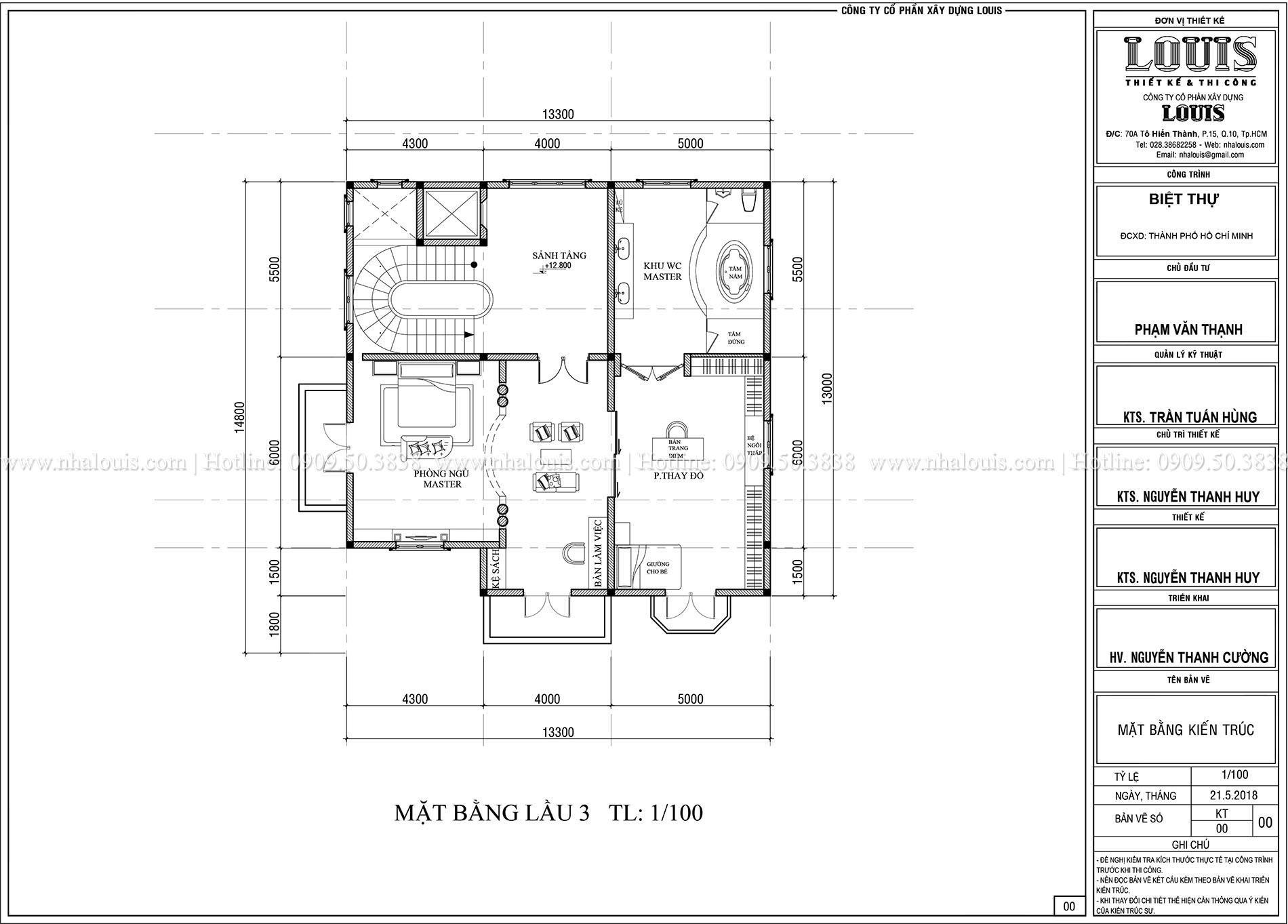 Mặt bằng lầu 3 Biệt thự Châu Âu cổ điển chuẩn sang chảnh tại Nhà Bè - 025a