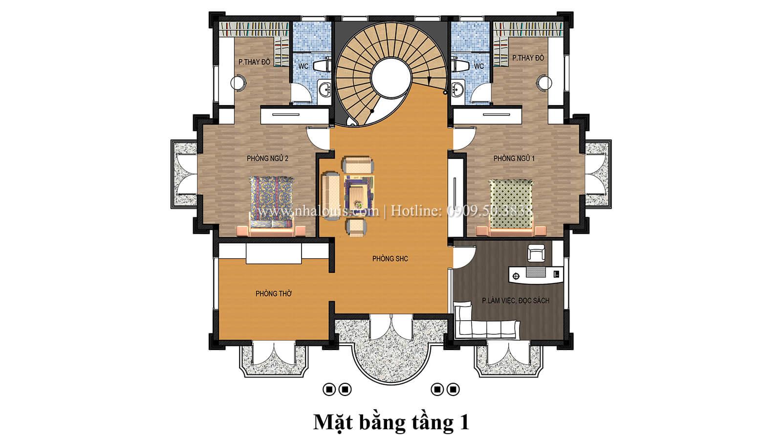 Mặt bằng tầng 1 Biệt thự tân cổ điển có tầng hầm và sân vườn đẹp mỹ miều tại Biên Hòa - 06