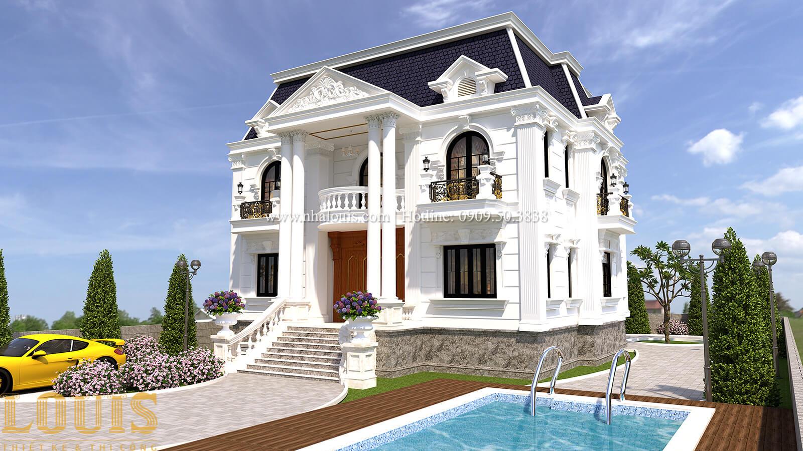 Mặt tiền Mẫu nhà biệt thự 3 tầng đẹp có hồ bơi sân vườn tại Biên Hòa - 07