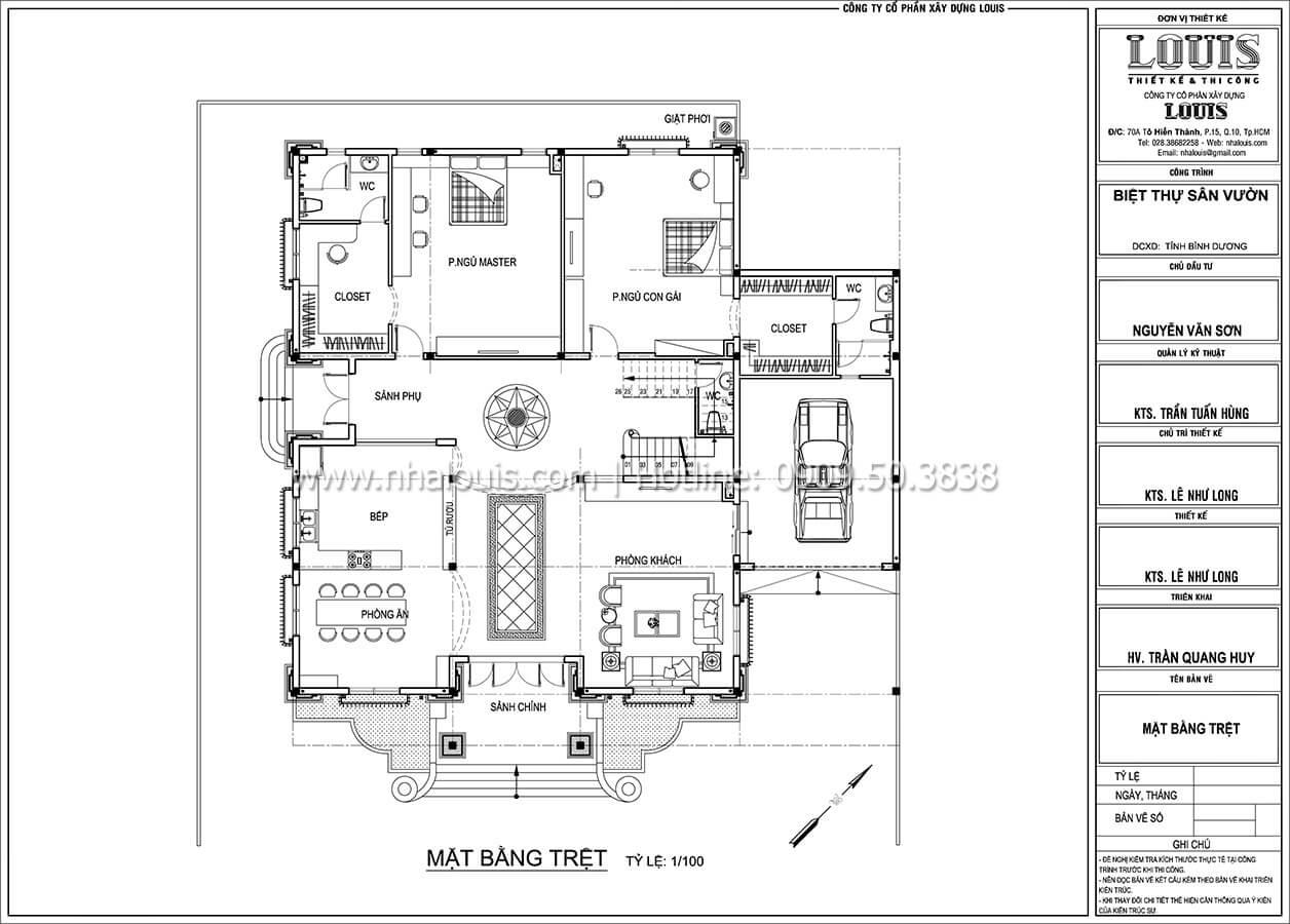 Mặt bằng tầng trệt Mẫu nhà biệt thự 3 tầng đẹp thuần khiết tại Bình Dương - 09