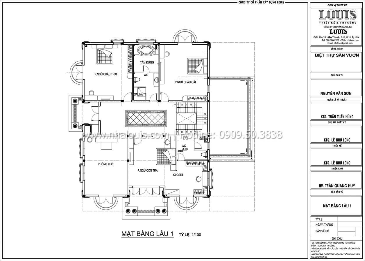 Mặt bằng tầng 1 Mẫu nhà biệt thự 3 tầng đẹp thuần khiết tại Bình Dương - 10