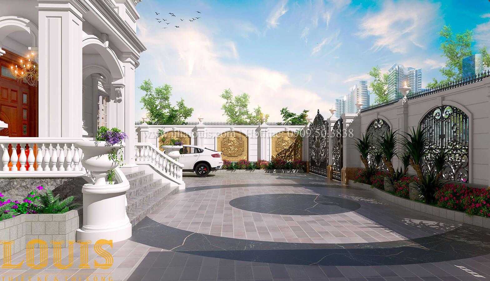 Sân vườn Mẫu nhà biệt thự 3 tầng đẹp thuần khiết tại Bình Dương - 36
