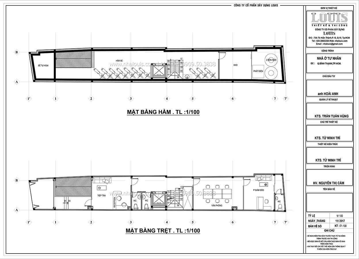 Sơ đồ mặt bằng tầng hầm và tầng trệt Nhà ống mặt tiền 4m phong cách hiện đại tại Quận Bình Thạnh - 15