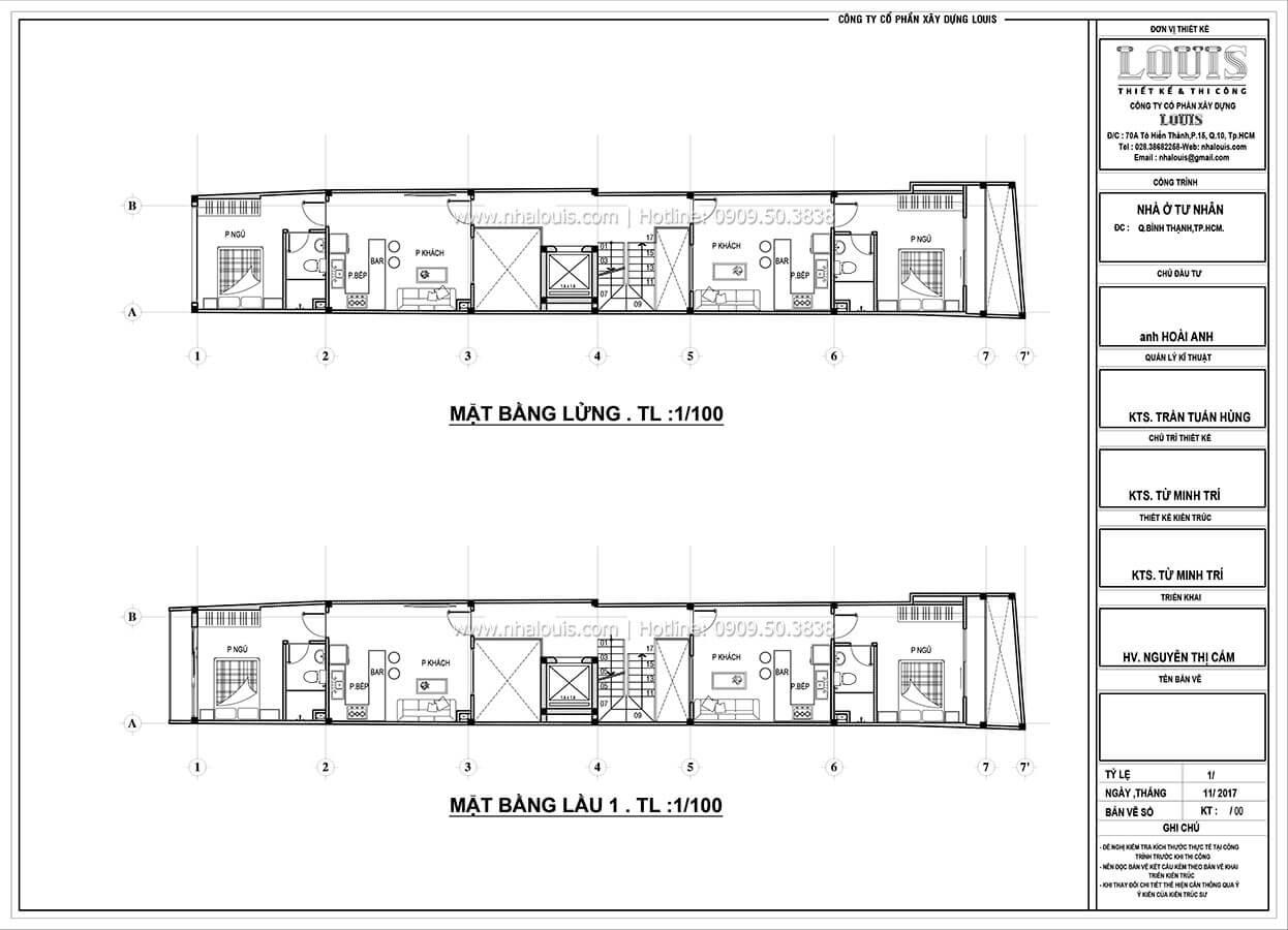 Sơ đồ mặt bằng tầng lửng và tầng 1 Nhà ống mặt tiền 4m phong cách hiện đại tại Quận Bình Thạnh - 16