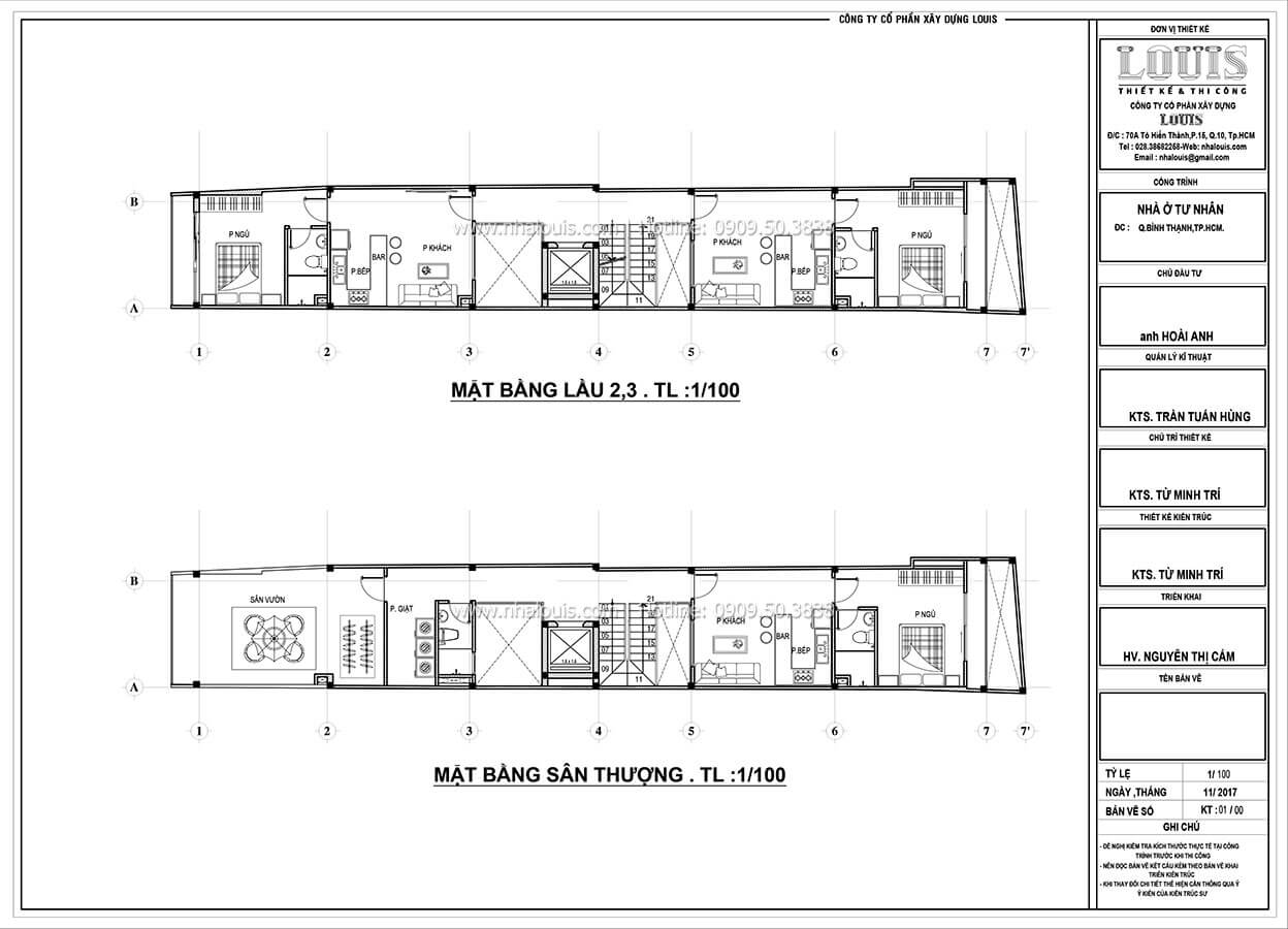 Sơ đồ mặt bằng tầng 2, tầng 3, tầng thượng Nhà ống mặt tiền 4m phong cách hiện đại tại Quận Bình Thạnh - 17
