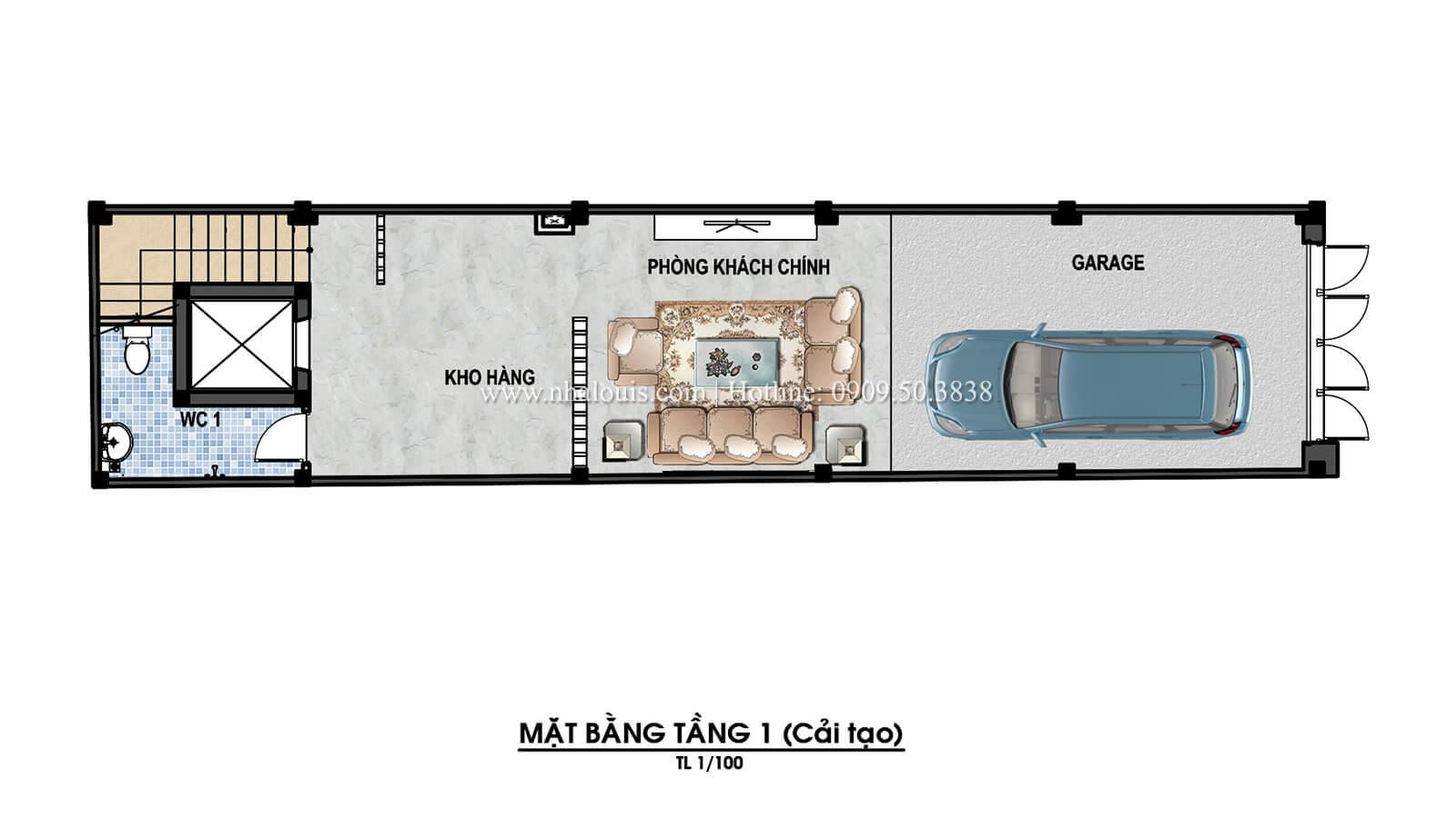 Mặt bằng tầng trệt Thiết kế cải tạo nhà phố 6 tầng chuẩn tinh tế tại Quận 11 - 05