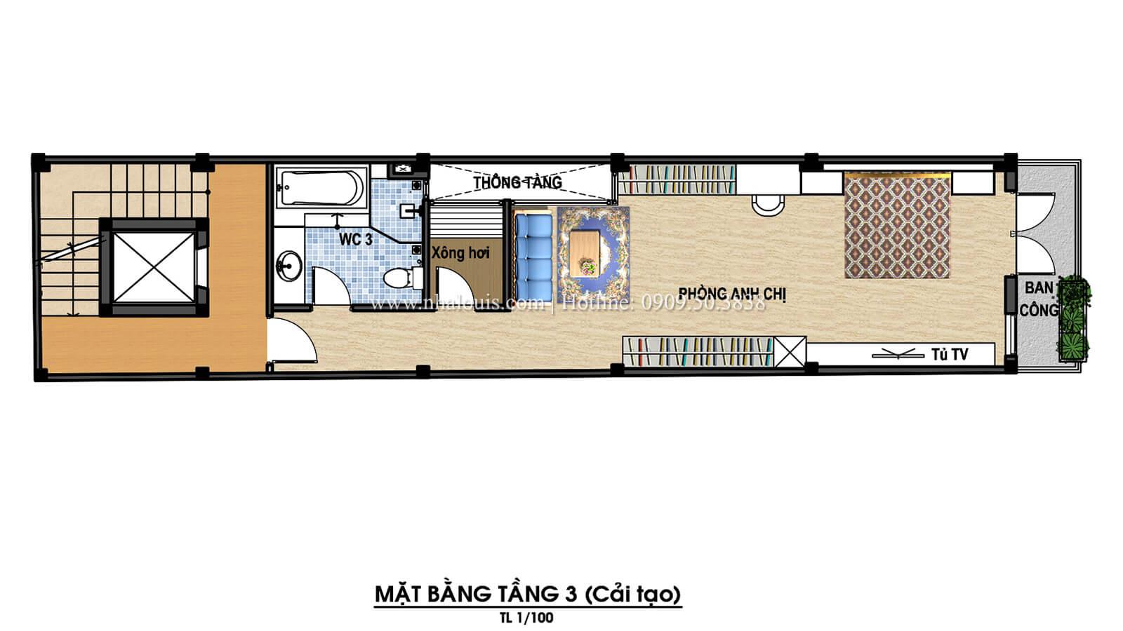 Mặt bằng tầng 3 Thiết kế cải tạo nhà phố 6 tầng chuẩn tinh tế tại Quận 11 - 07