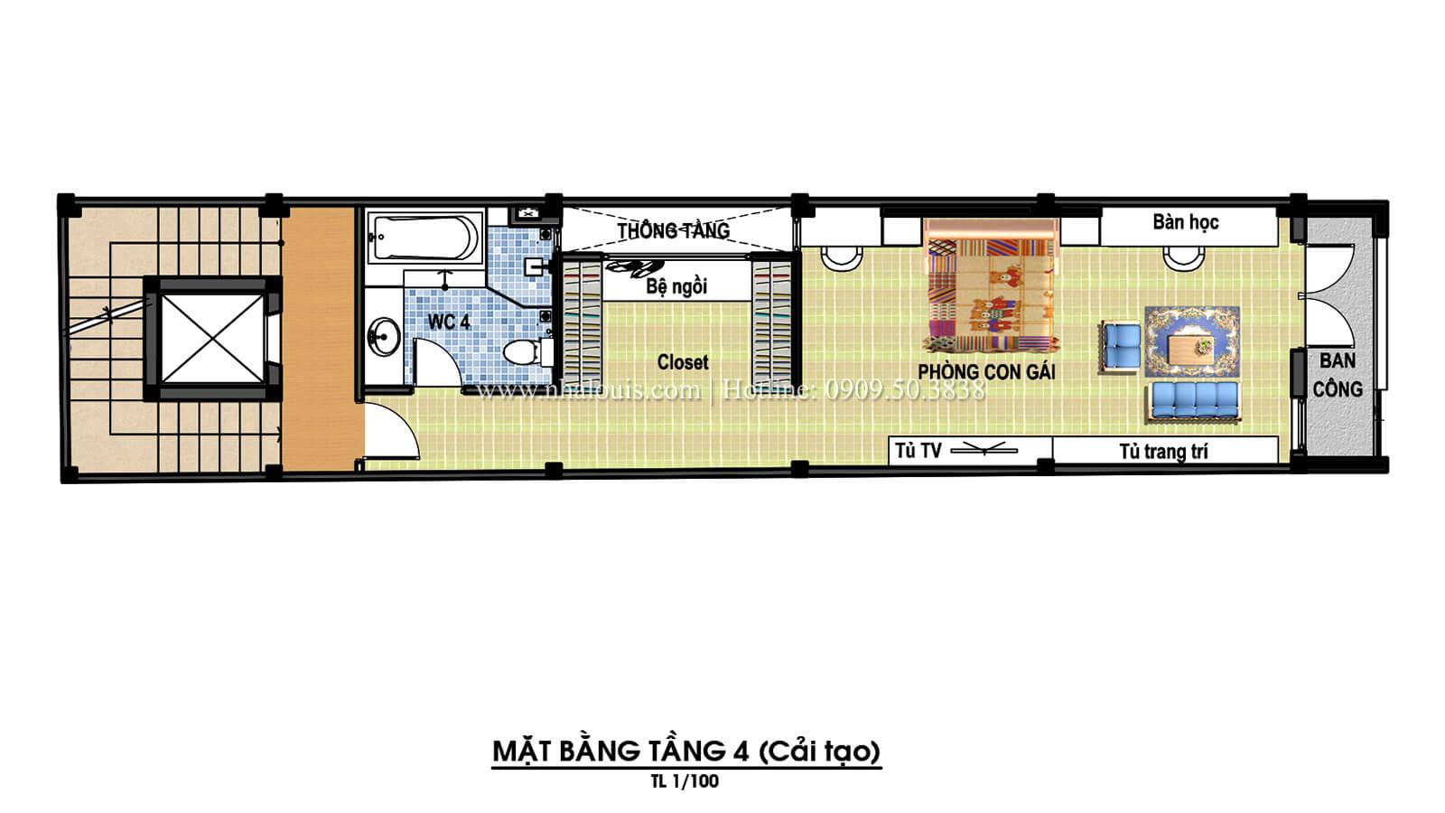Mặt bằng tầng 4 Thiết kế cải tạo nhà phố 6 tầng chuẩn tinh tế tại Quận 11 - 08