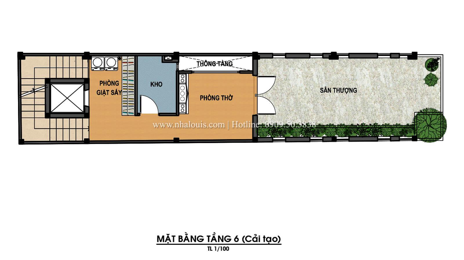 Mặt bằng tầng 6 Thiết kế cải tạo nhà phố 6 tầng chuẩn tinh tế tại Quận 11 - 10