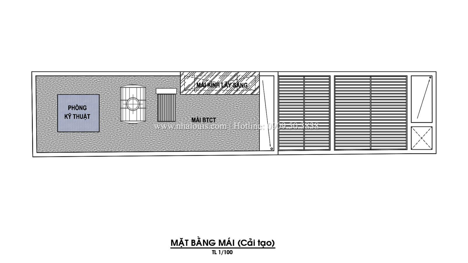 Mặt bằng tầng mái Thiết kế cải tạo nhà phố 6 tầng chuẩn tinh tế tại Quận 11 - 11