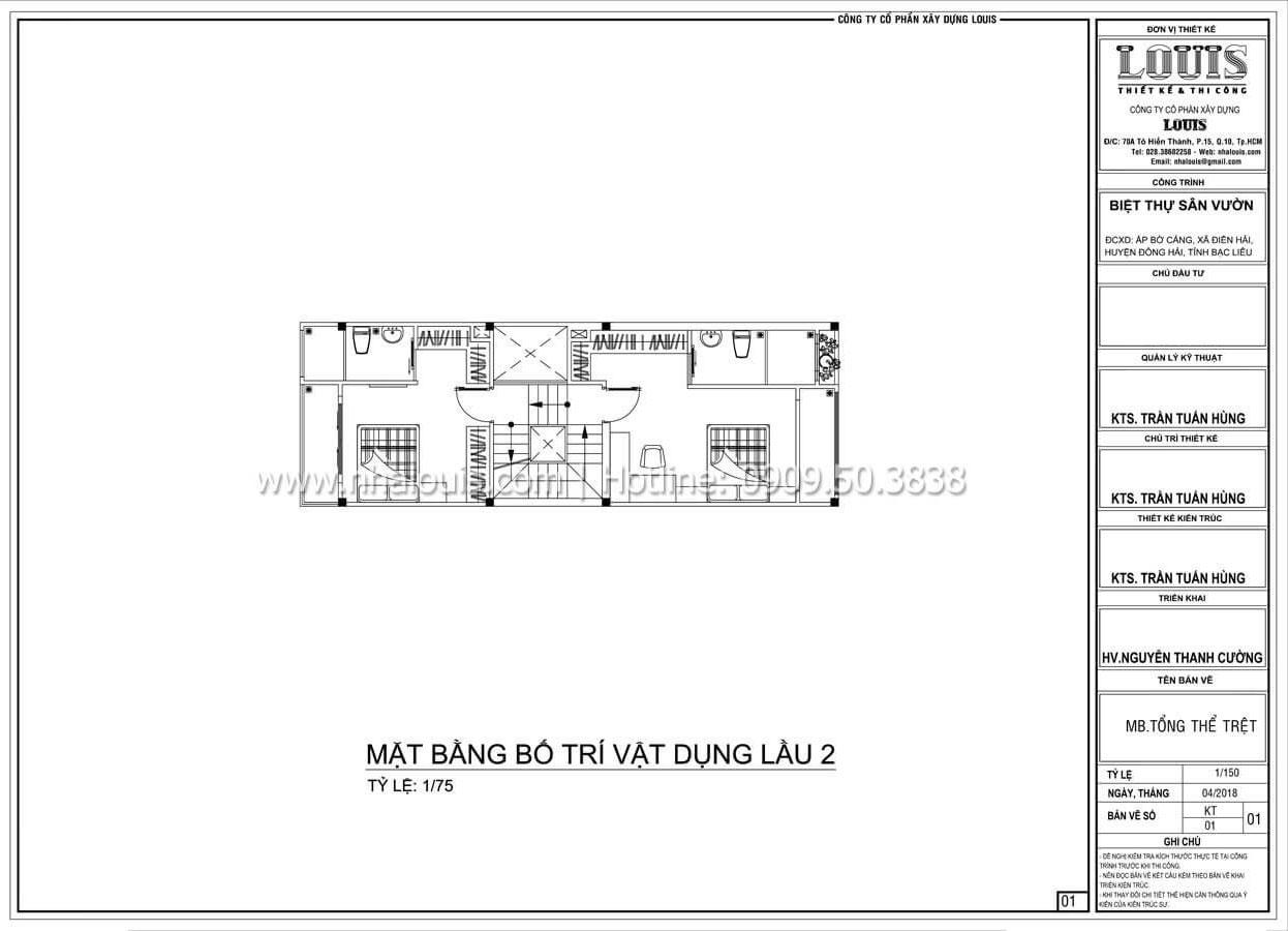 Mặt bằng tầng 2 Thiết kế nhà đơn giản tinh tế với không gian mở tại Tân Bình - 13