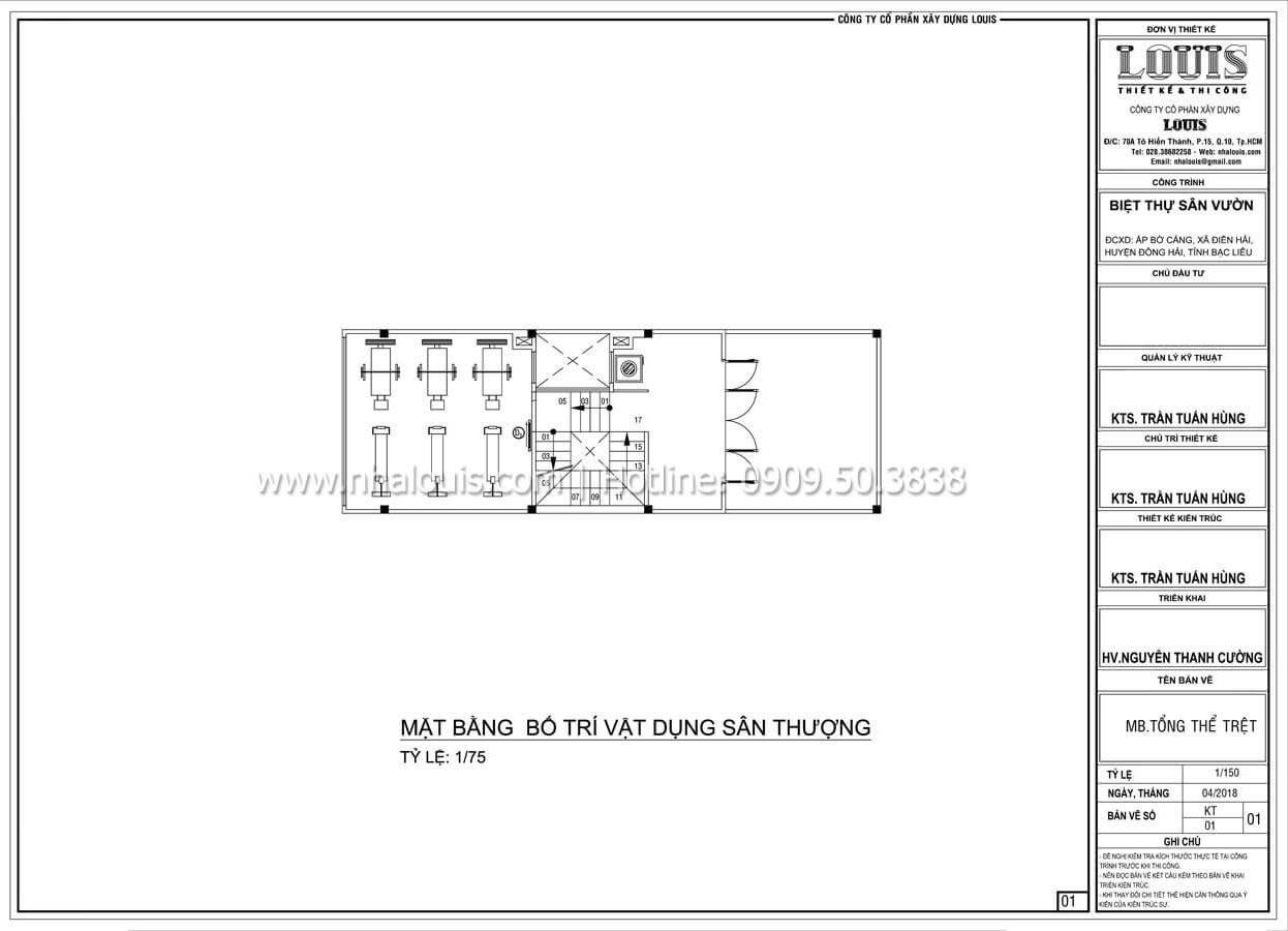 Mặt bằng tầng thượng Thiết kế nhà đơn giản tinh tế với không gian mở tại Tân Bình - 14