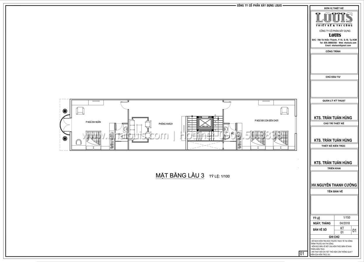 Mặt bằng tầng 3 Thiết kế spa đẹp lộng lẫy theo phong cách tân cổ điển - 16
