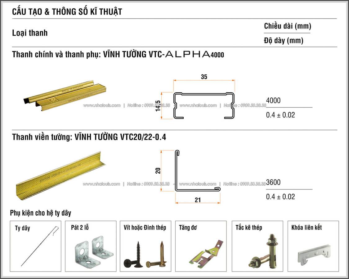 Cấu tạo trần thạch cao khung chìm Alpha và chi tiết vật tư Báo Giá Thi Công Hoàn Thiện - 05