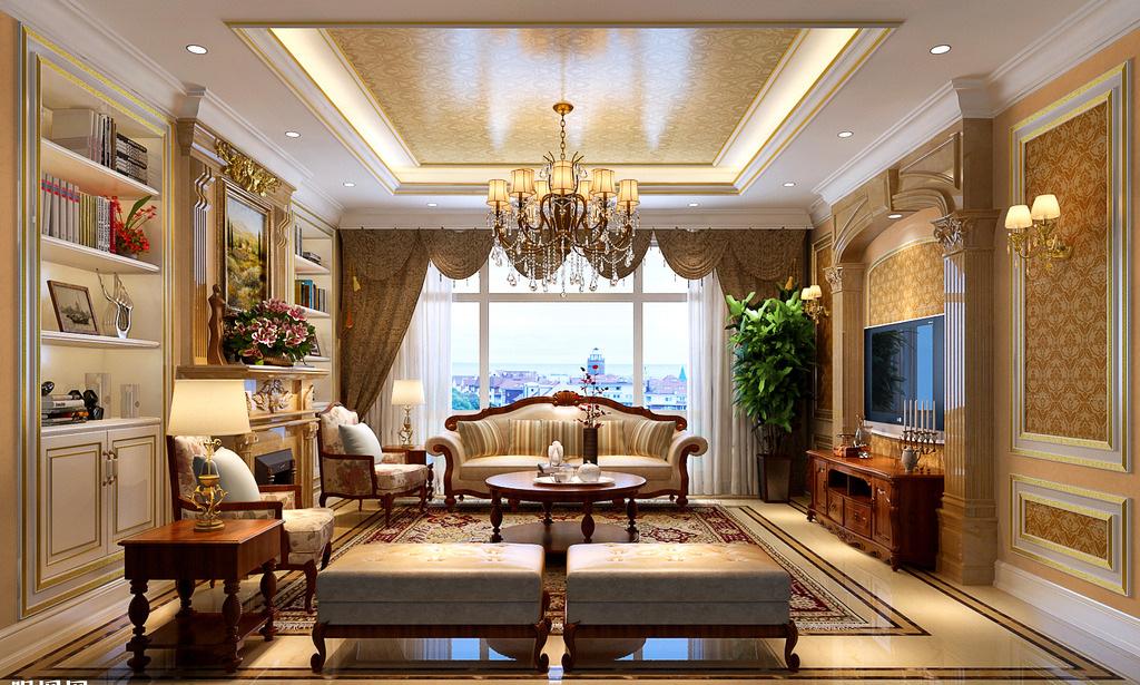 phòng khách phong cách cổ điển sang trọng với gam màu ấm áp