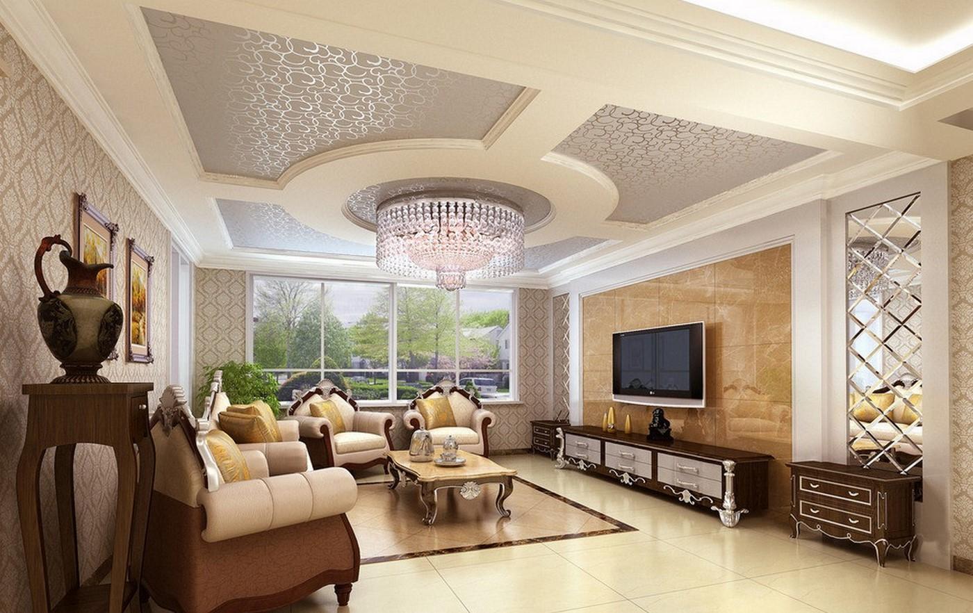 phòng khách phong cách cổ điển đẹp với màu sắc sáng