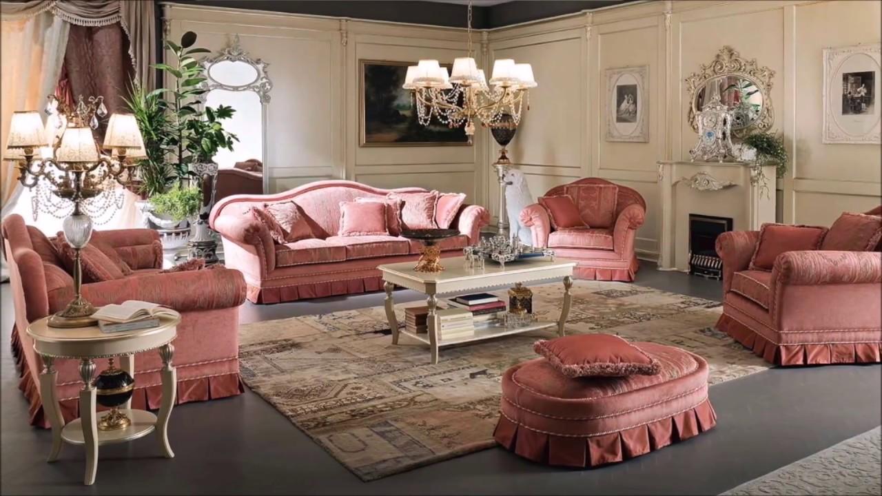 phòng khách phong cách cổ điển với sắc hồng