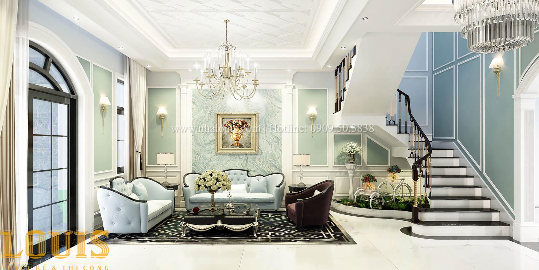 Phòng khách Thiết kế biệt thự 3 tầng đẹp có sân vườn ở miền quê Đồng Nai - 10