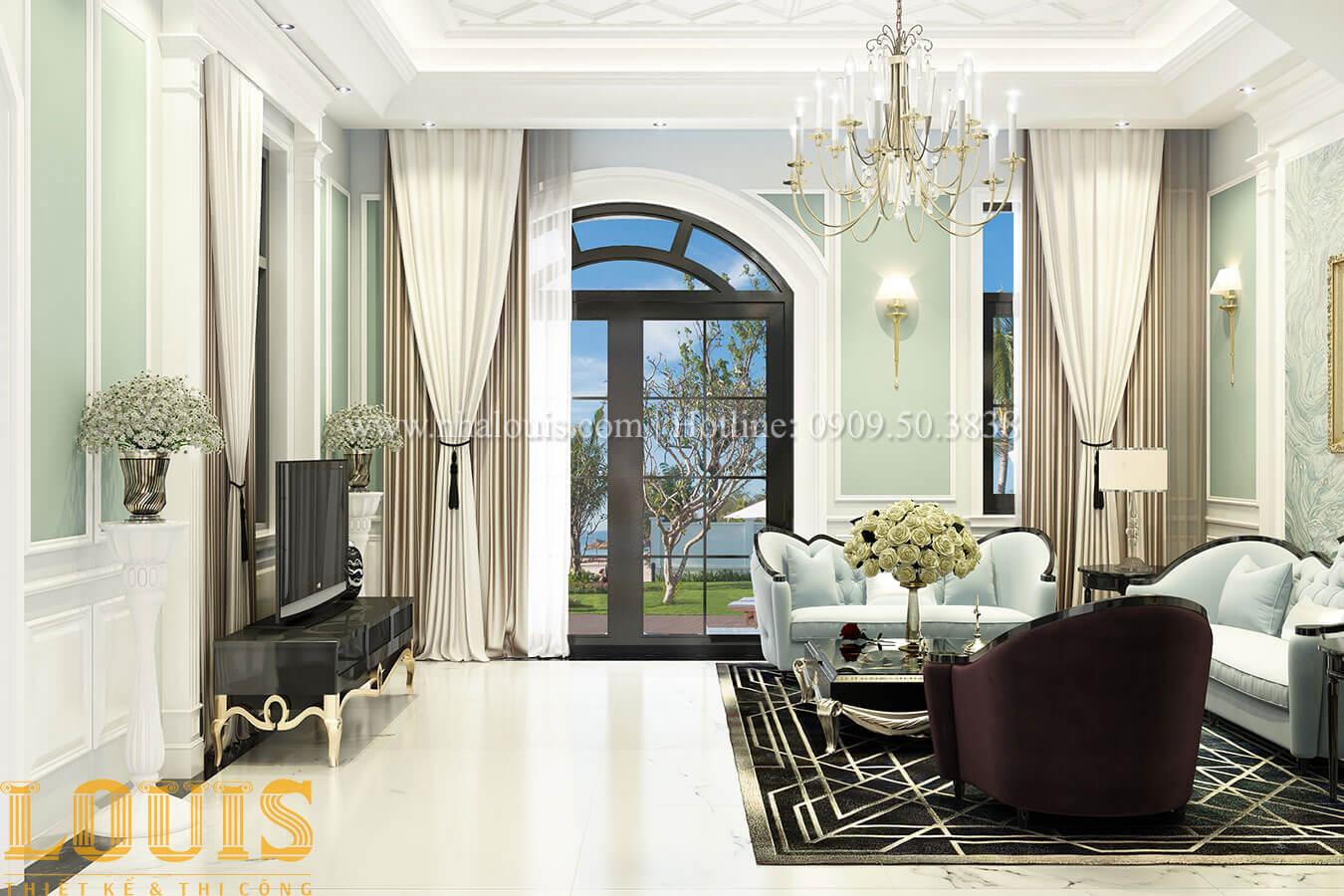 Phòng khách Thiết kế biệt thự 3 tầng đẹp có sân vườn ở miền quê Đồng Nai - 11