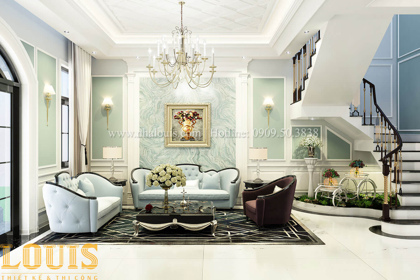 Phòng khách Thiết kế biệt thự 3 tầng đẹp có sân vườn ở miền quê Đồng Nai - 12
