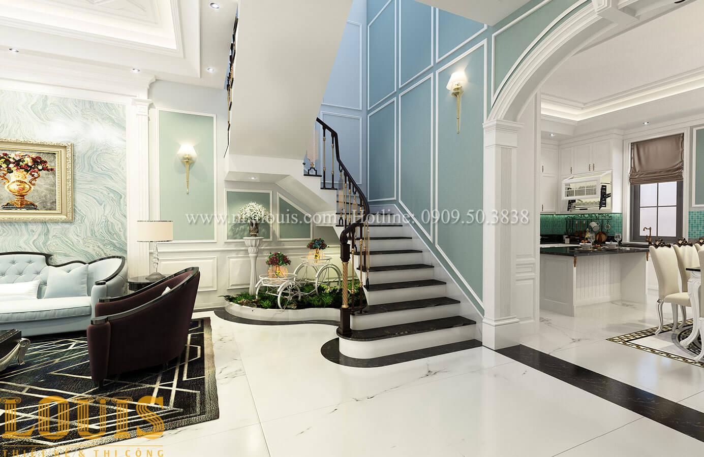Tiểu cảnh cầu thang Thiết kế biệt thự 3 tầng đẹp có sân vườn ở miền quê Đồng Nai - 14