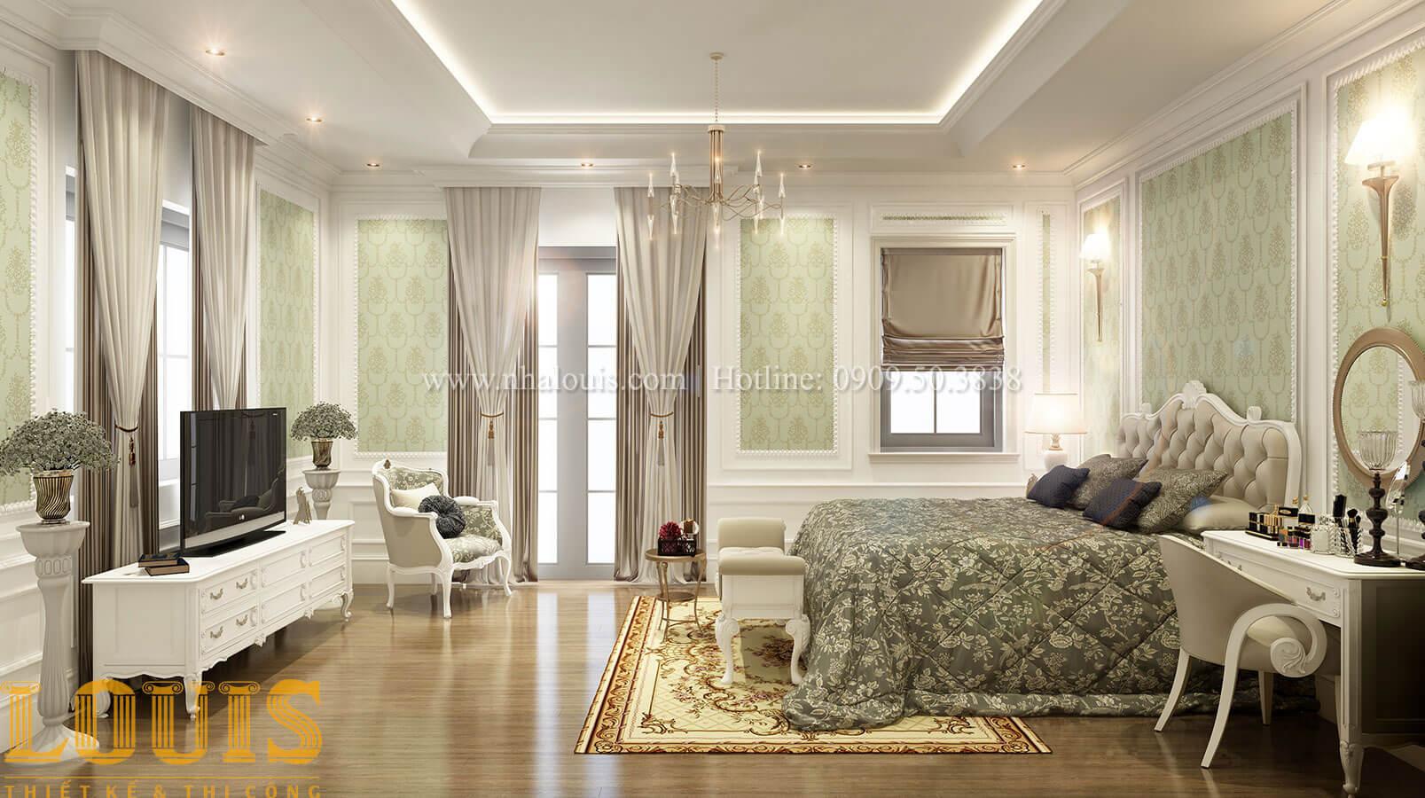 Phòng ngủ master Thiết kế biệt thự 3 tầng đẹp có sân vườn ở miền quê Đồng Nai - 22