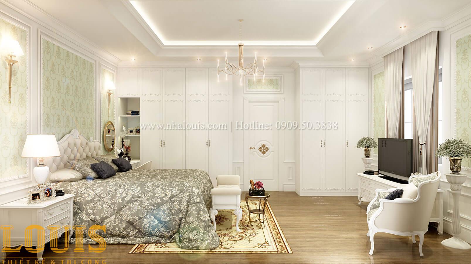 Phòng ngủ master Thiết kế biệt thự 3 tầng đẹp có sân vườn ở miền quê Đồng Nai - 23