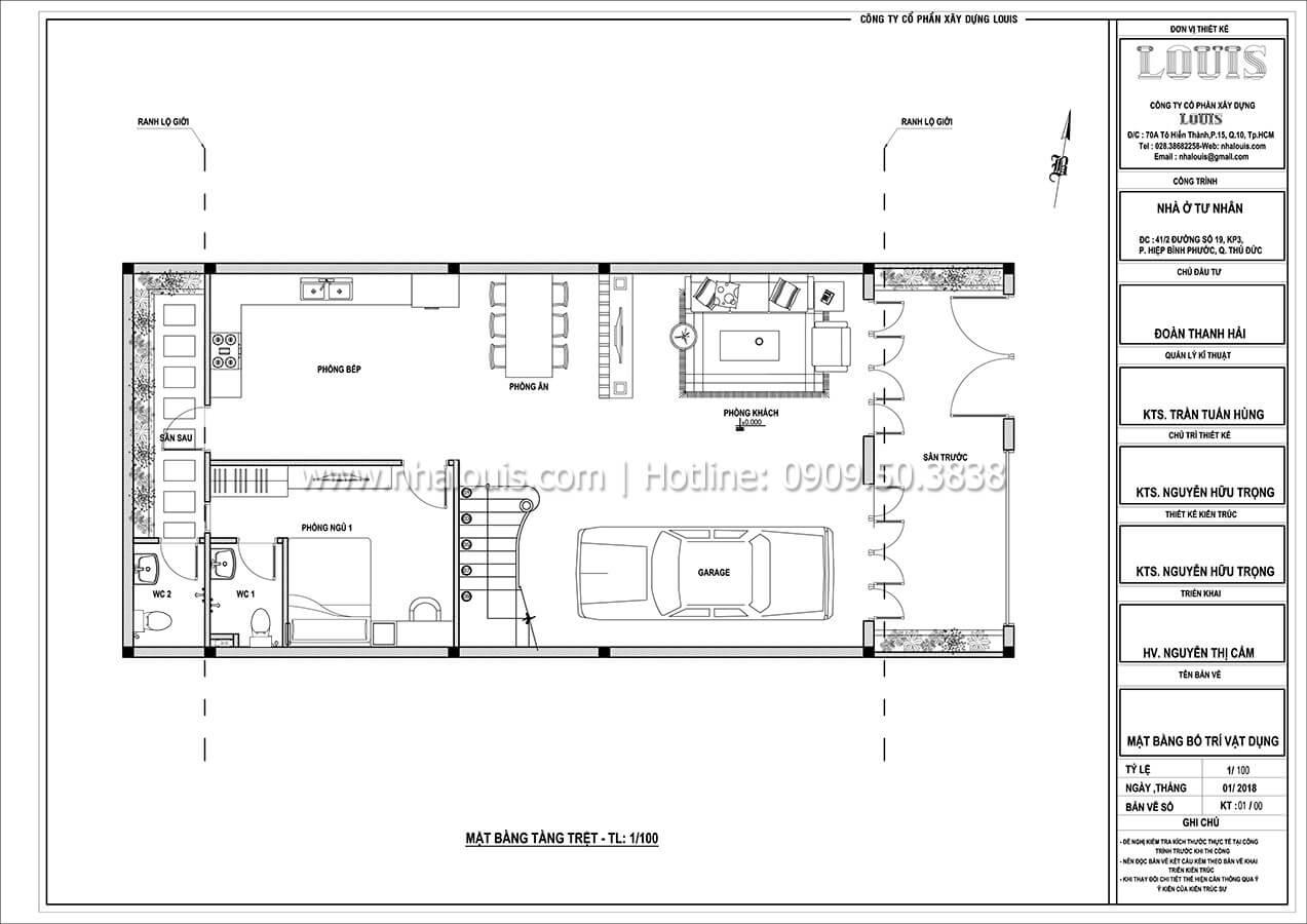 Mặt bằng tầng trệt Thiết kế biệt thự cổ điển Pháp đẹp hoa lệ tại Thủ Đức - 03