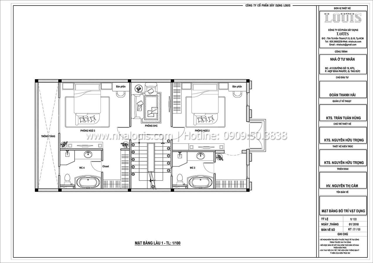 Mặt bằng tầng 1 Thiết kế biệt thự cổ điển Pháp đẹp hoa lệ tại Thủ Đức - 04